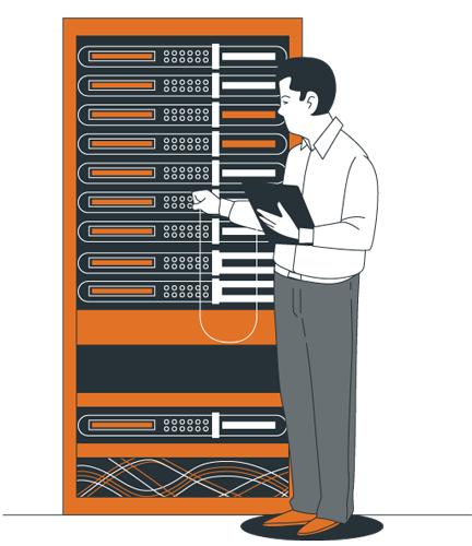 Managed vs Unmanaged Hosting – An Engineer is Connecting the Cables on Server