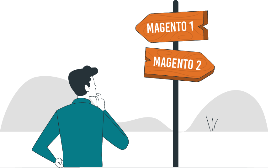 Magento 1 vs Magento 2 - A confused retailer is looking at the roadside board showing two directions